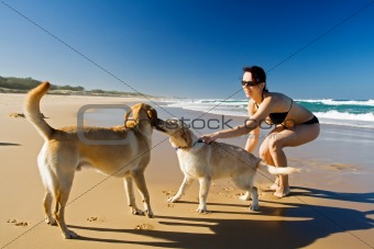 Girl playing with dogs