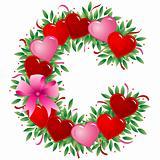 Letter C - Valentine heart letter
