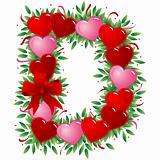 Letter D - Valentine heart letter