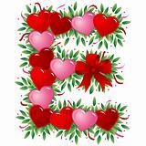 Letter E - Valentine heart letter
