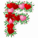 Letter F - Valentine heart letter
