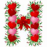 Letter H - Valentine heart letter