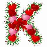 Letter K - Valentine heart letter