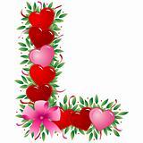 Letter L - Valentine heart letter