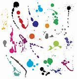 Collection of various ink splatter symbols vector illustrations