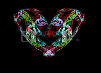 High resolution fractal heart/retro/floral theme design