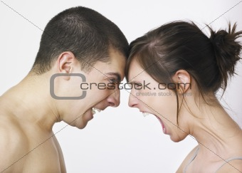 Couple shouting at each other