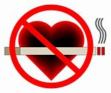 No smoking sign vector with a heart in the background