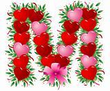 Letter M - Valentine heart letter
