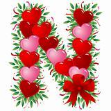 Letter N - Valentine heart letter
