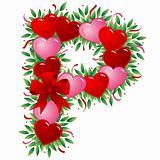 Letter P - Valentine heart letter
