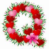 Letter Q - Valentine heart letter