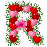 Letter R - Valentine heart letter
