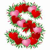Letter S - Valentine heart letter