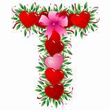 Letter T - Valentine heart letter