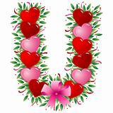 Letter U - Valentine heart letter