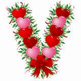 Letter V - Valentine heart letter