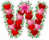 Letter W - Valentine heart letter