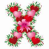 Letter X - Valentine heart letter