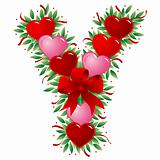 Letter Y - Valentine heart letter