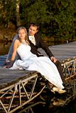 wedding couple on lake