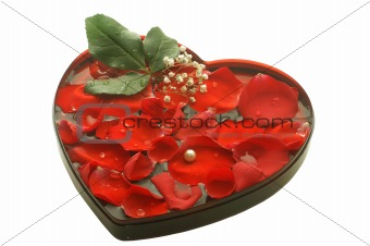 valentine heart with a rose petals
