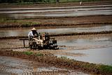 farmer, plough machine and paddy field at the countryside