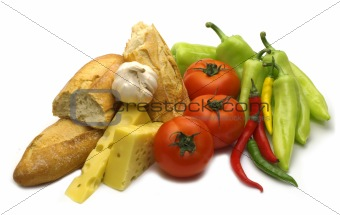 break baguette and fresh vegetables