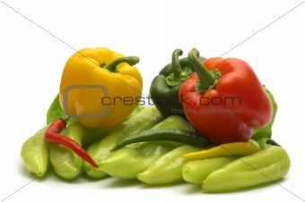assortment color pepper on white background