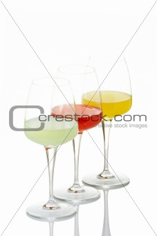 Three glasses with beverages