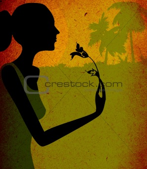 grunge design, woman with flower