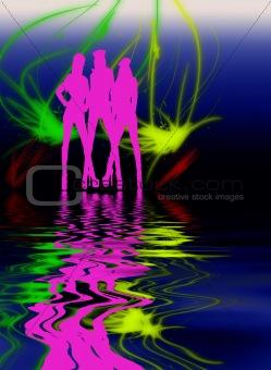 three pink woman