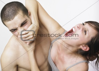 Young couple in a fight