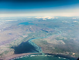Iceland: aerial photography of the southern coast.
