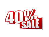 40 percentages sale in 3d letters and block
