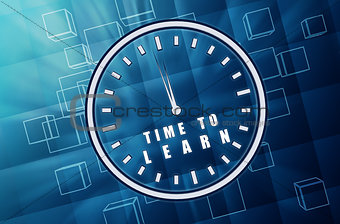 time to learn in clock symbol in blue glass cubes