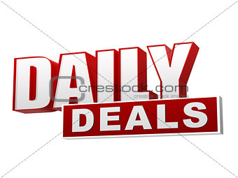 daily deals in 3d letters and block
