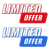 limited offer in two colors labels, flat design