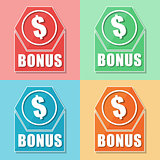 bonus and dollar symbol, four colors web icons
