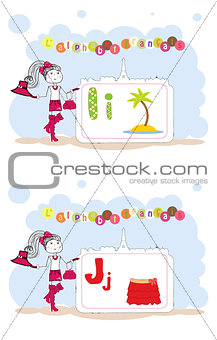 alphabet francais. French alphabet, vector I, J