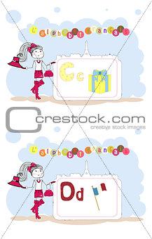 alphabet francais. French alphabet, vector C, D
