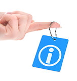 hand holding information tag