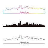 Adelaide skyline linear style with rainbow