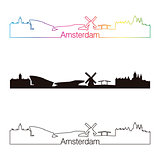 Amsterdam skyline linear style with rainbow