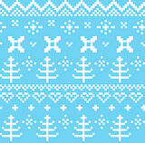 Winter Norwegian seamless knitting pattern ( blue & white )