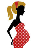 Retro pregnant woman in dotted dress isolated on white