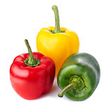 Three color peppers isolated on white