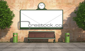 Blank street billboard on grunge wall