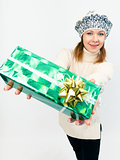 young beautiful woman with gifts