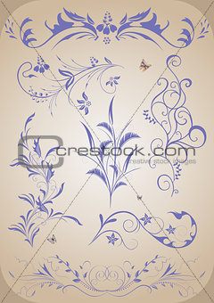Abstract floral ornament set
